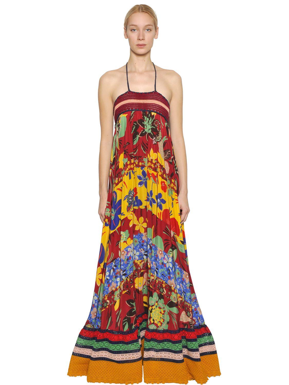 7b5baf7a3792f Lyst - Tommy Hilfiger Striped Crochet   Printed Crepe Dress