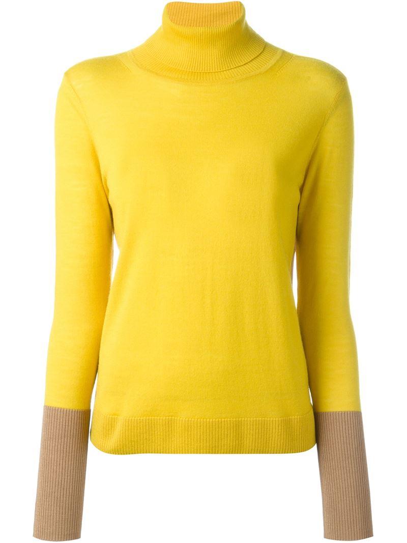 Rag & bone Colour Block Turtleneck Sweater in Yellow | Lyst