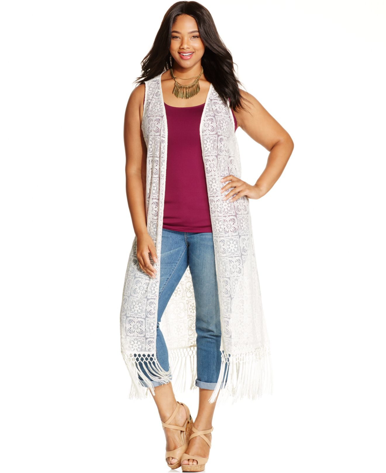 Jessica simpson Plus Size Sleeveless Fringed Duster Cardigan in ...
