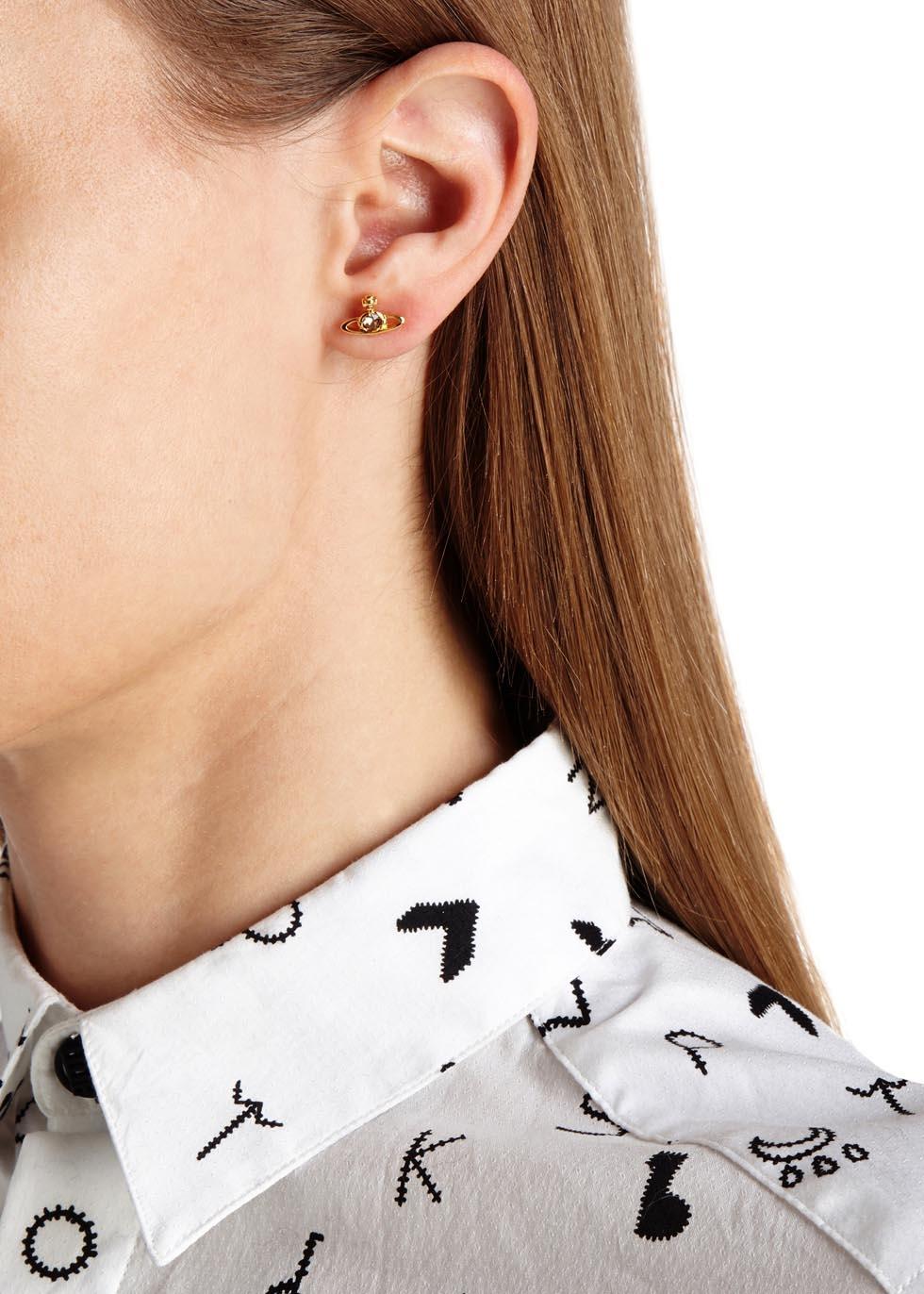 Vivienne Westwood Metallic Nano Gold Tone Orb Earrings