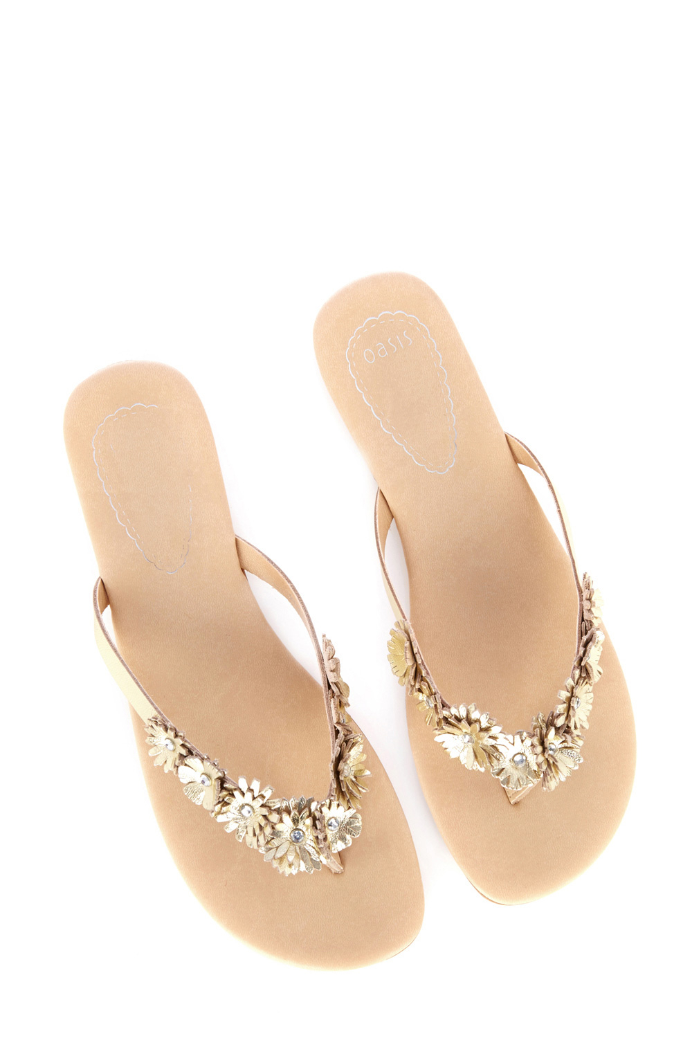 6eeba16cde41 Lyst - Oasis Mimi Leather Flip Flops in Metallic