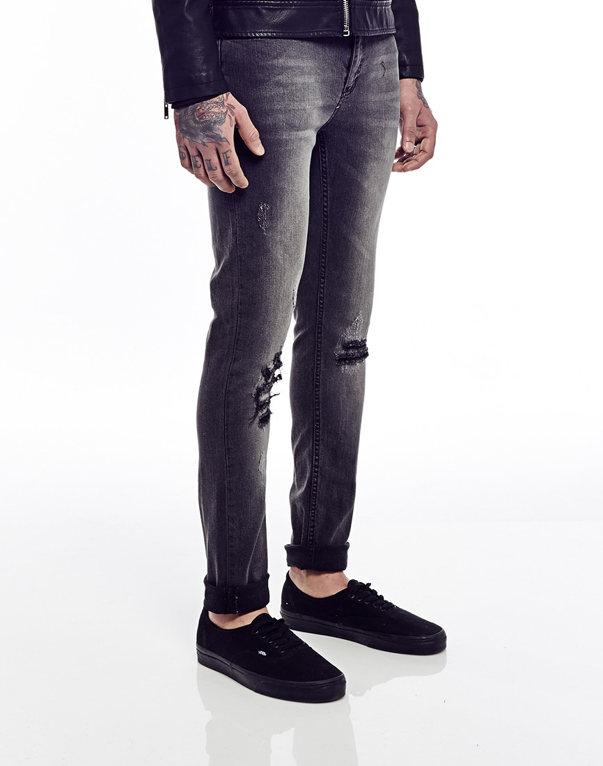Cheap monday Tight Jeans Destruction Black In Skinny Fit in Black ...