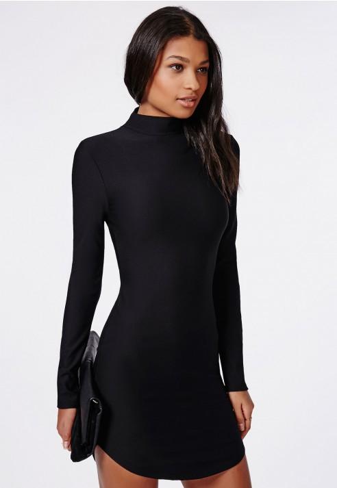 fbdb86e9e11 Missguided High Neck Long Sleeve Curve Hem Mini Dress Black in Black ...