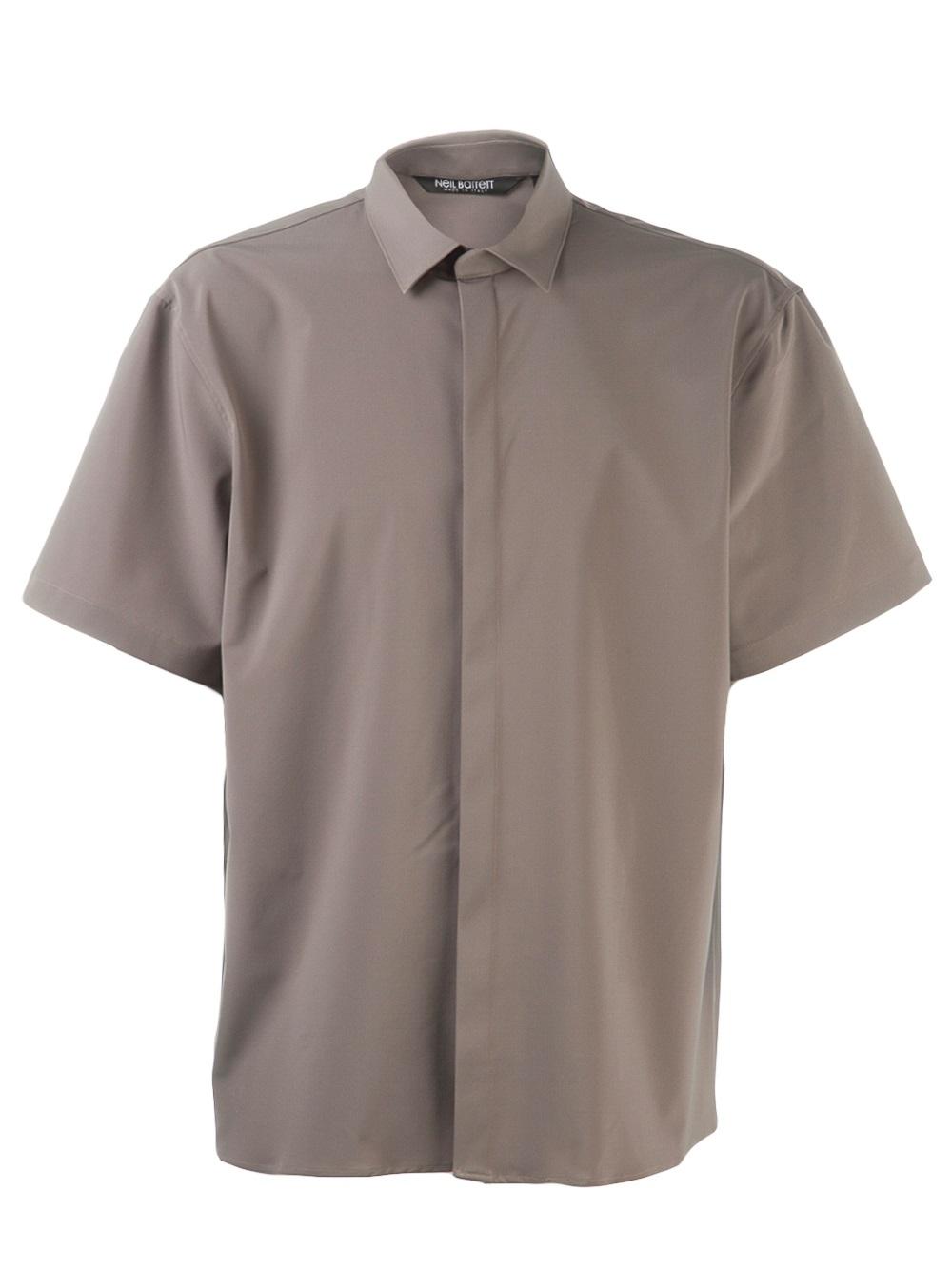 Neil barrett short sleeve button down shirt in gray for for Mens grey button down dress shirt