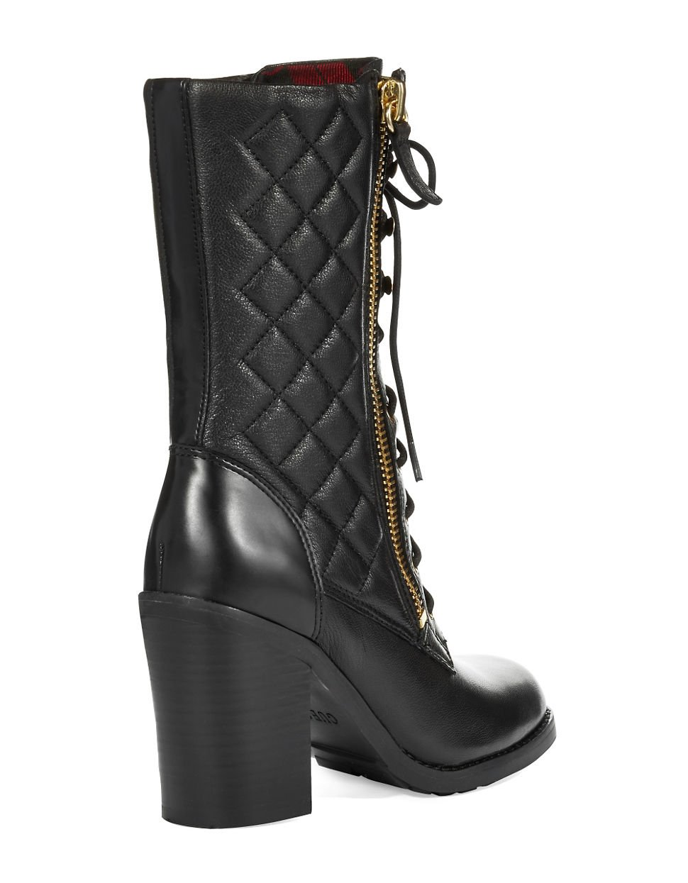 guess jacqui quilted boots in black lyst