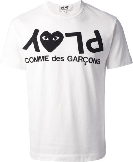 Play Comme Des Gar Ons Printed Logo T Shirt In White For Men