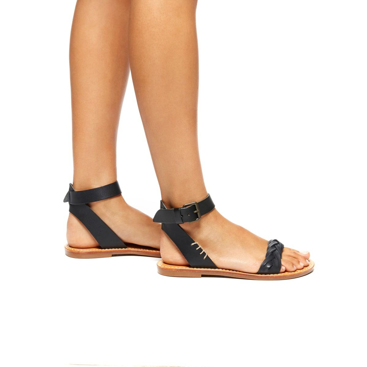 Soludos Leather Braided Ankle Strap Sandal In Black Lyst