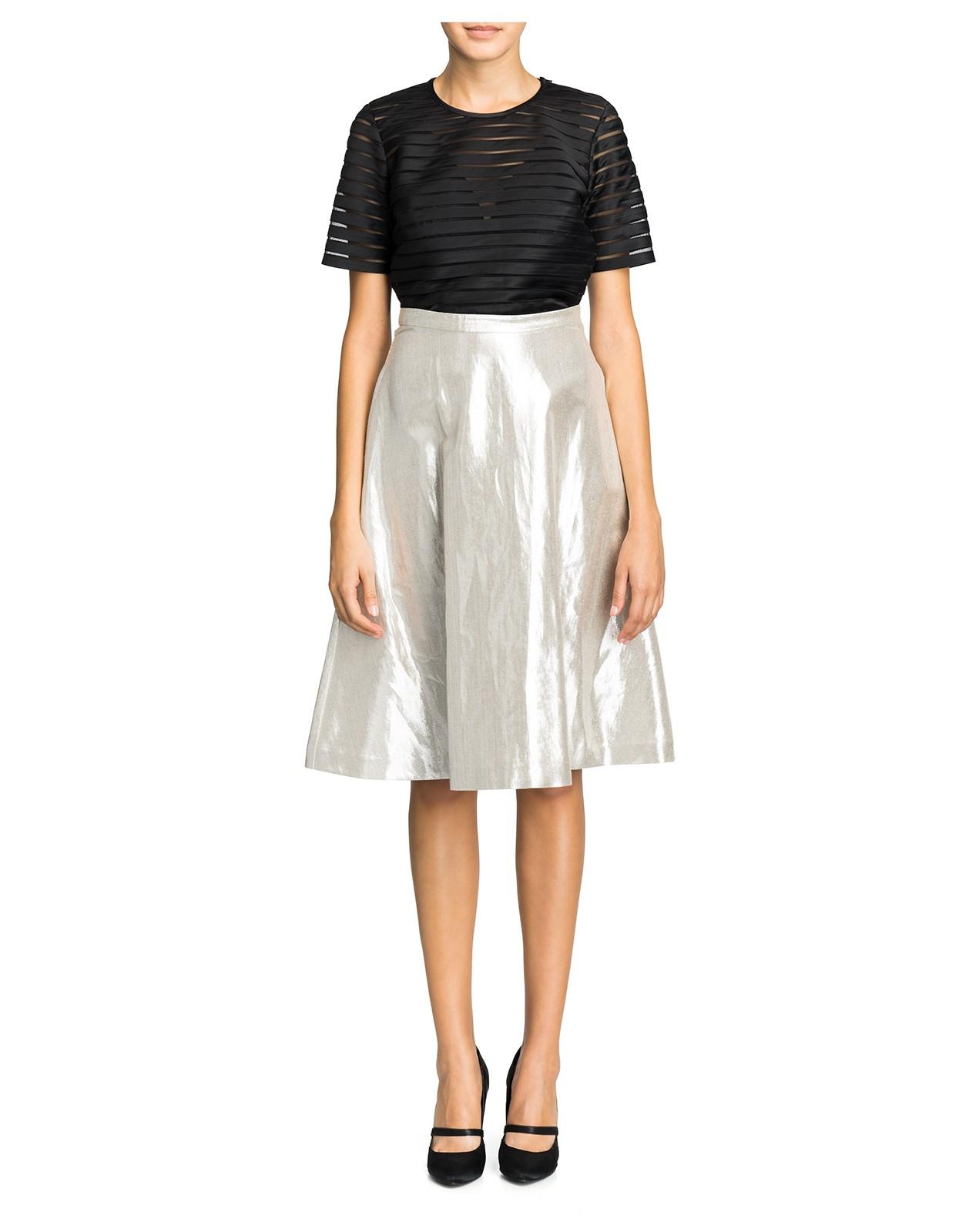 cynthia rowley metallic a line skirt in silver lyst