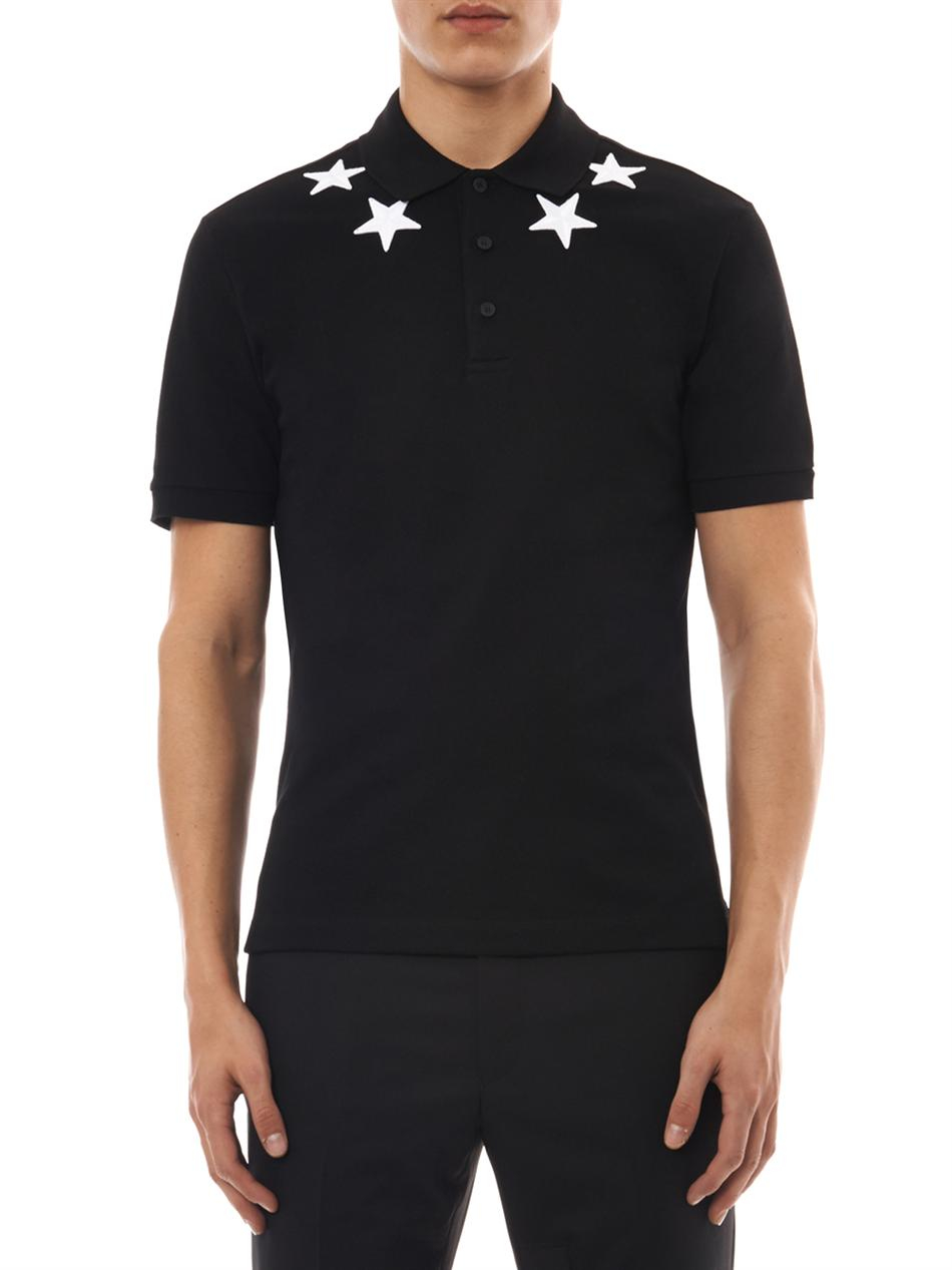 Lyst givenchy cubanfit star polo shirt in black for men for Givenchy 5 star shirt