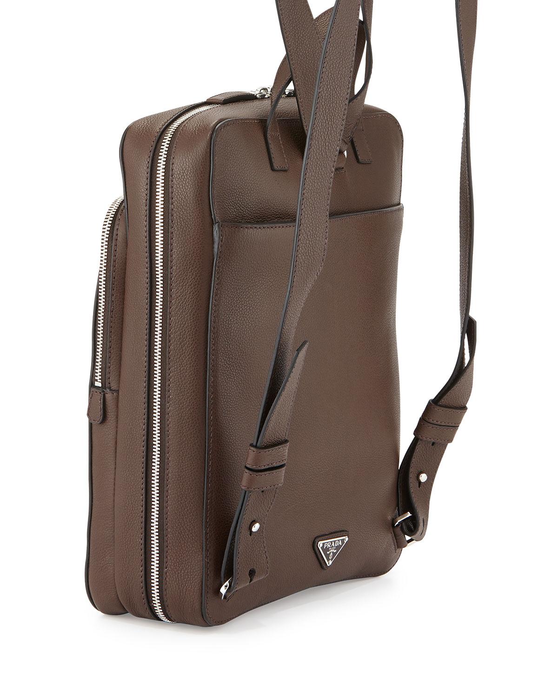 d9ef4d442caf Prada Calfskin Slim Backpack With Zip Closures in Brown for Men - Lyst