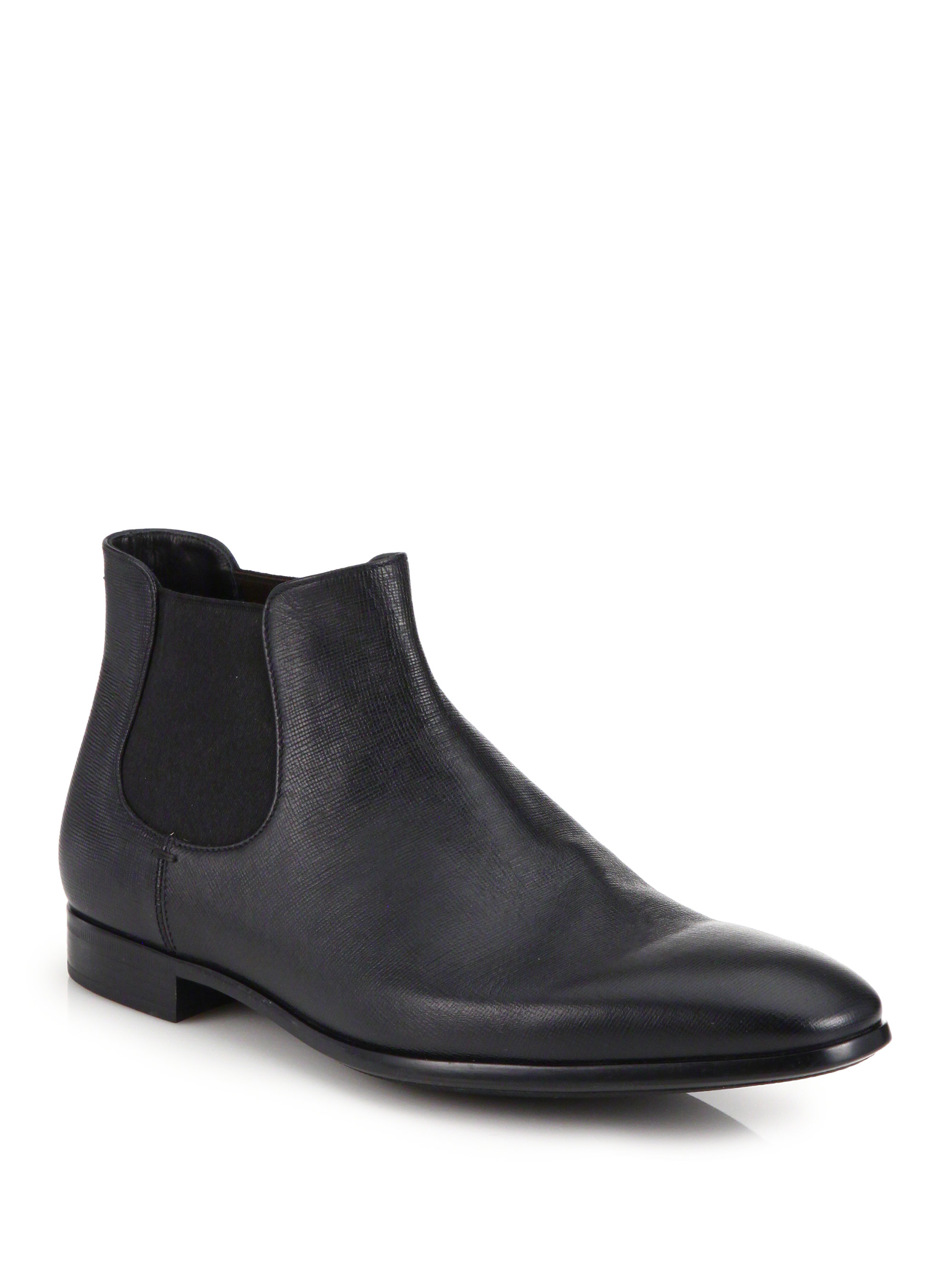 Giorgio Armani Low Rise Saffiano Leather Chelsea Boots In