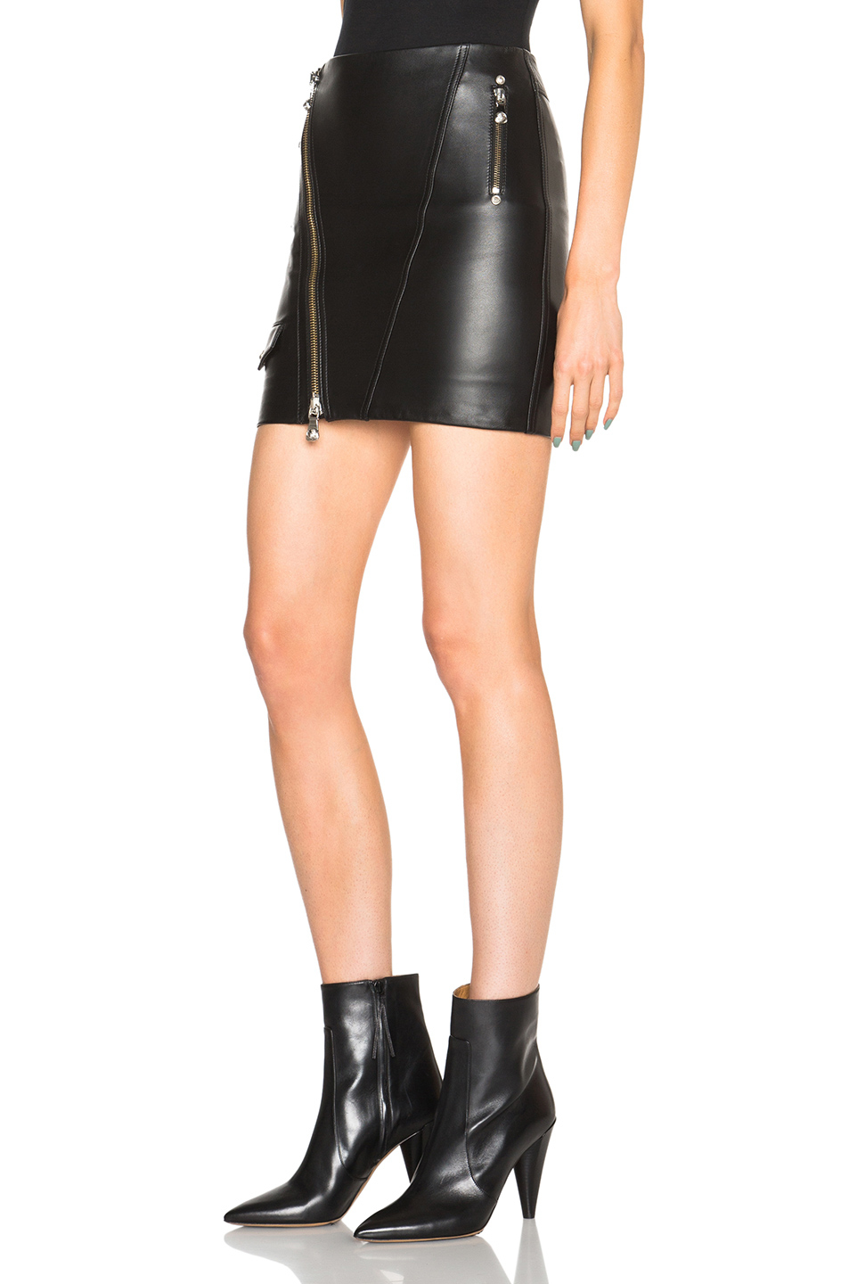 Versus Leather Skirt in Black | Lyst