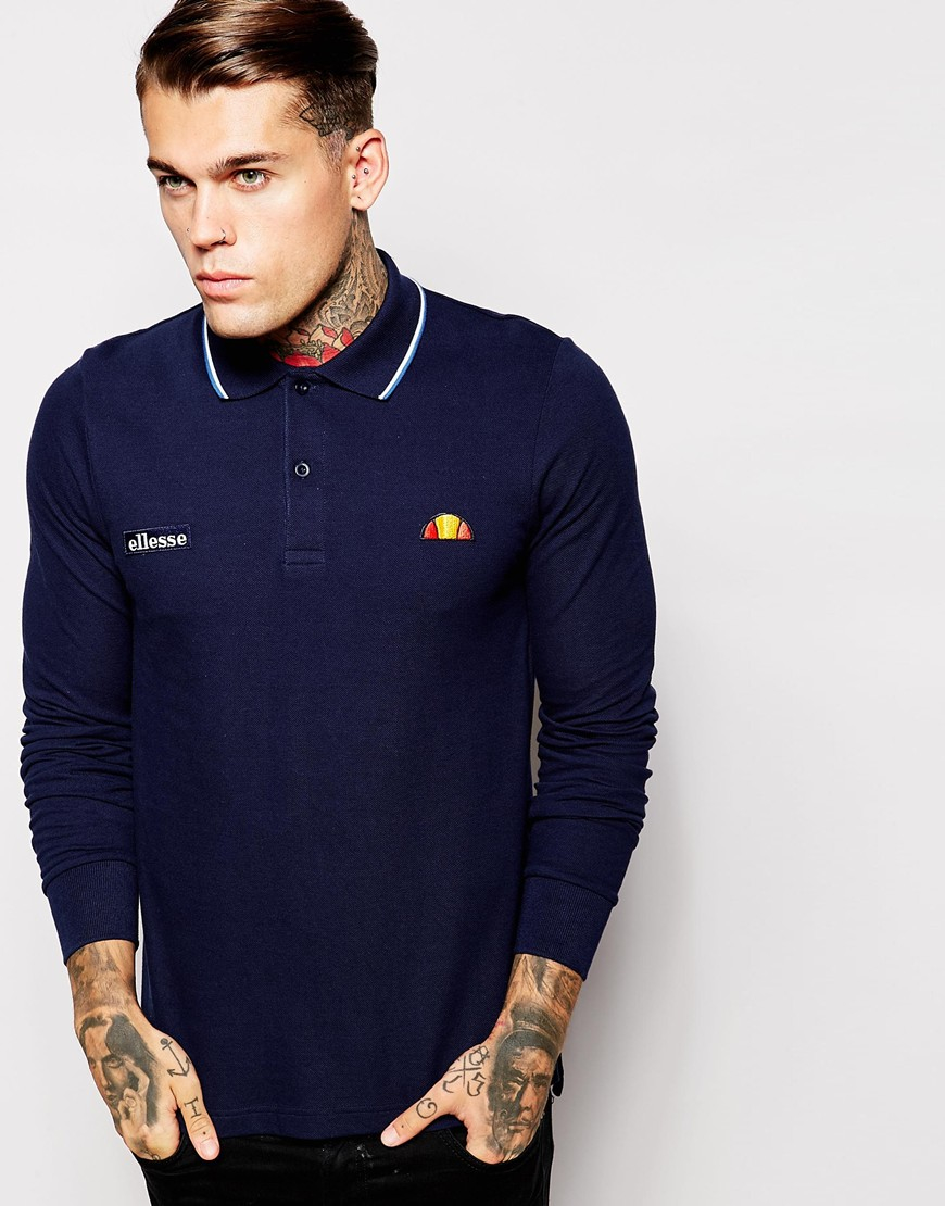 Lyst ellesse re issue long sleeve pique polo shirt in for Mens long sleeve pique polo shirts