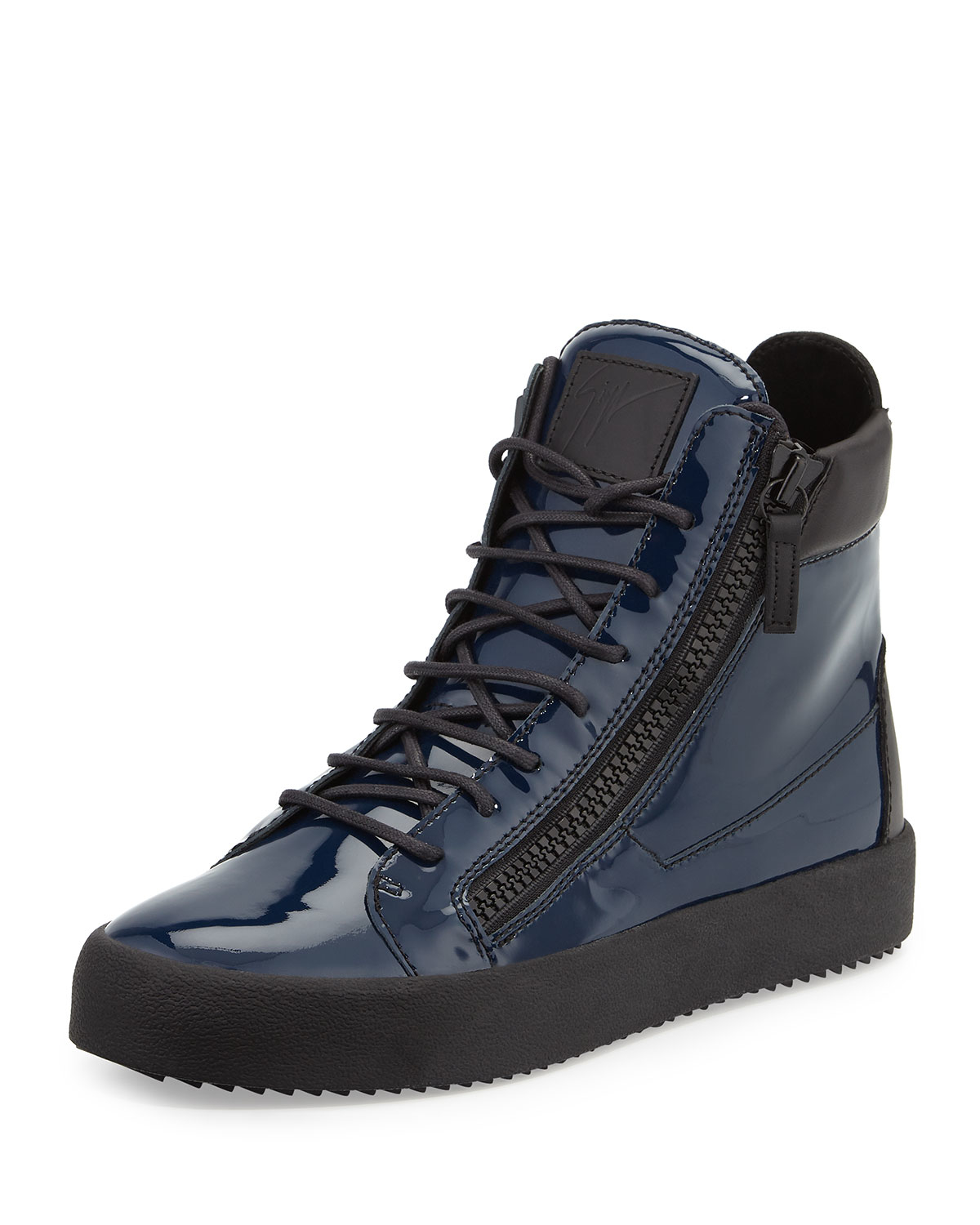 Giuseppe zanotti Patent Leather High-Top Sneakers in Blue ...