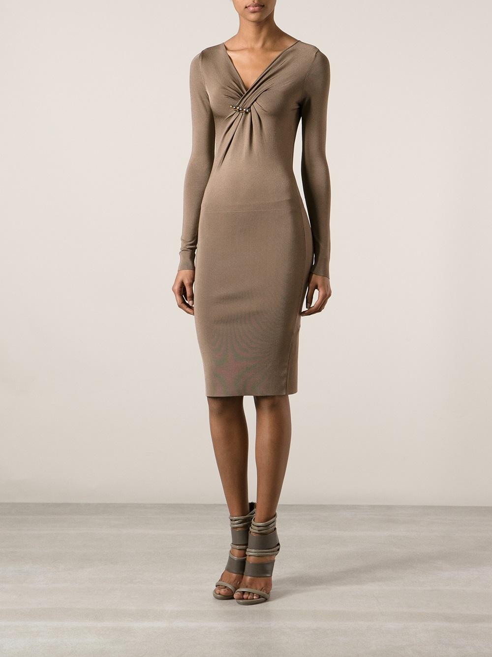 Gucci Bodycon Dress In Brown Lyst