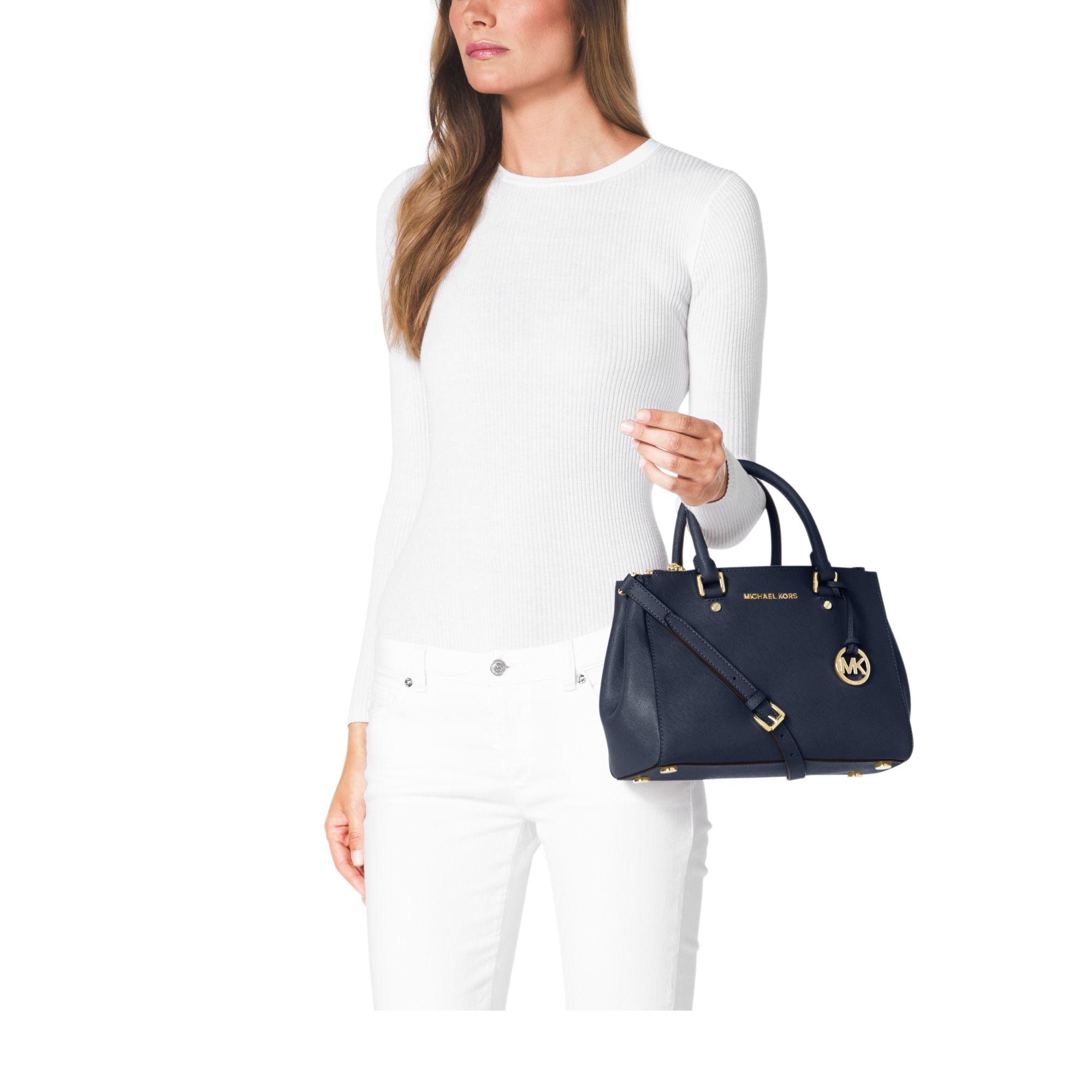 ad3a93555666 Michael Kors Sutton Saffiano Leather Medium Navy Satchel designer handbags  outlet