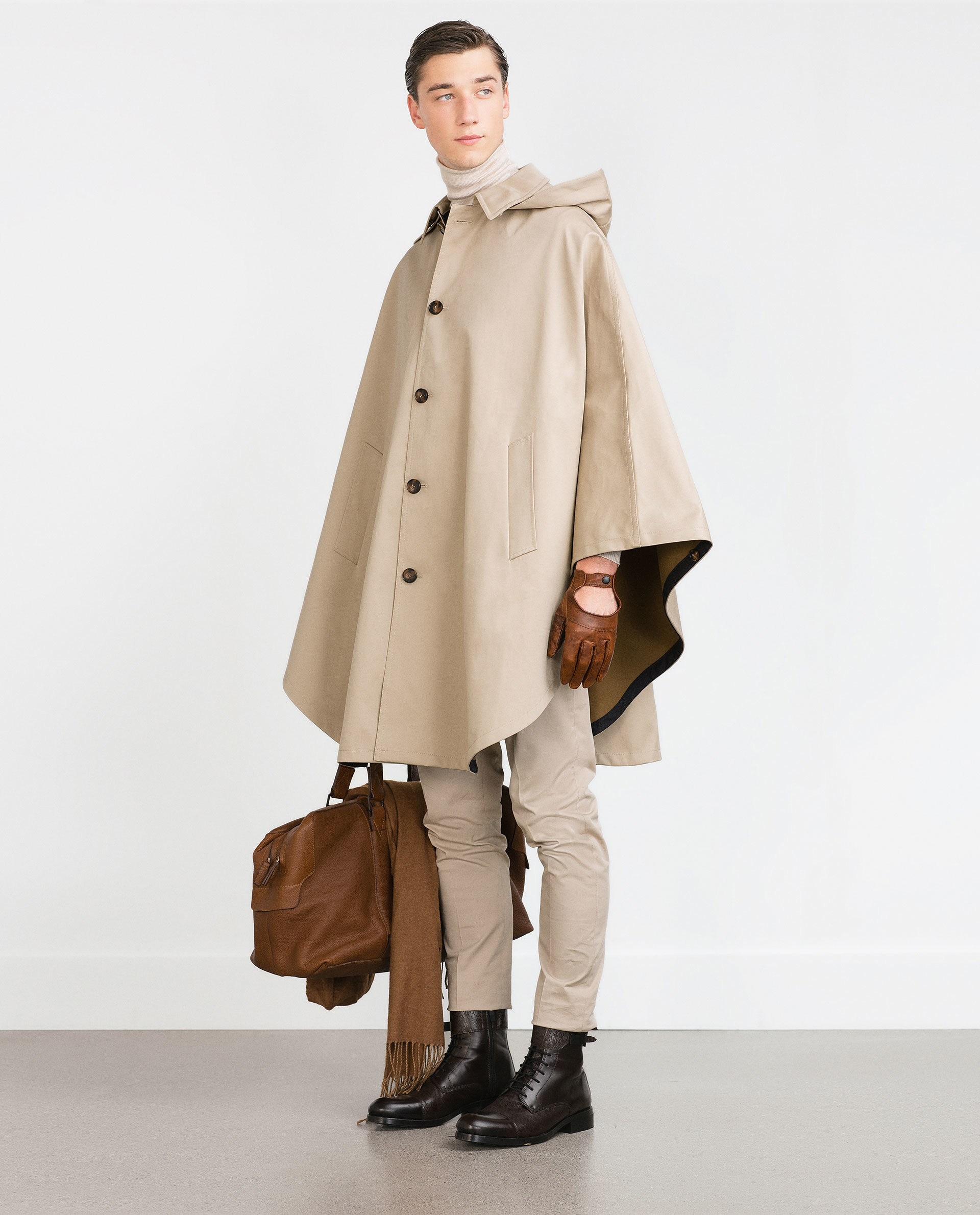 zara hooded cape in natural for men lyst. Black Bedroom Furniture Sets. Home Design Ideas