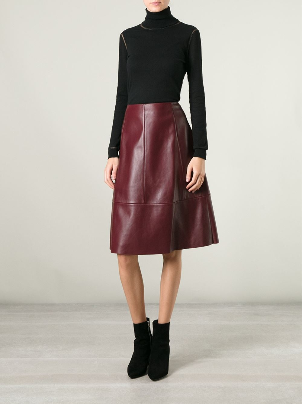 Drome Leather A-line Skirt in Red | Lyst