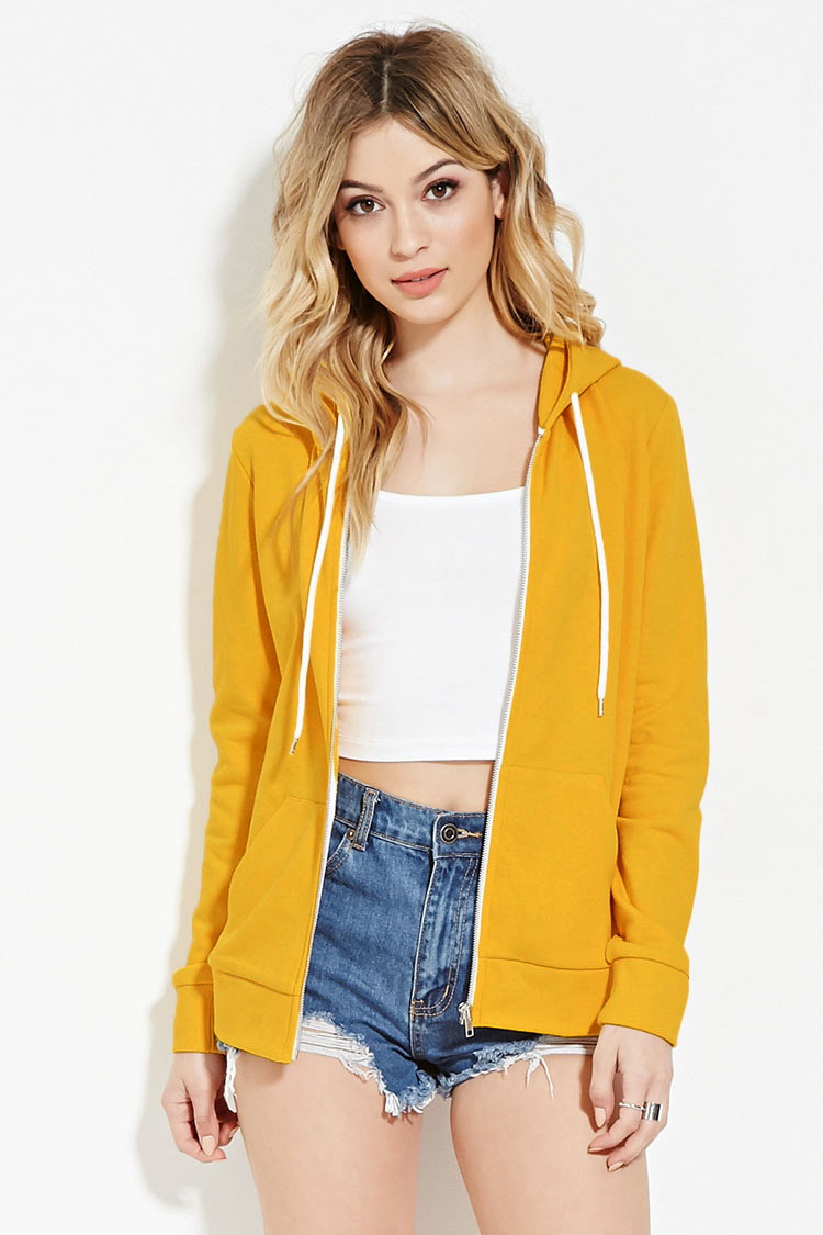 Forever 21 Classic Zip Up Hoodie In Yellow Lyst