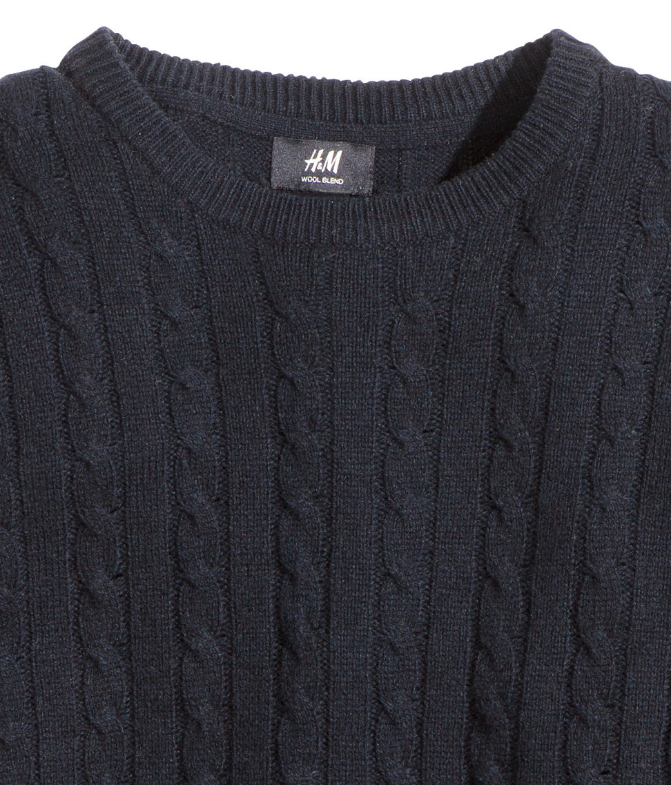 H&m Wool-blend Cable-knit Jumper in Blue for Men | Lyst