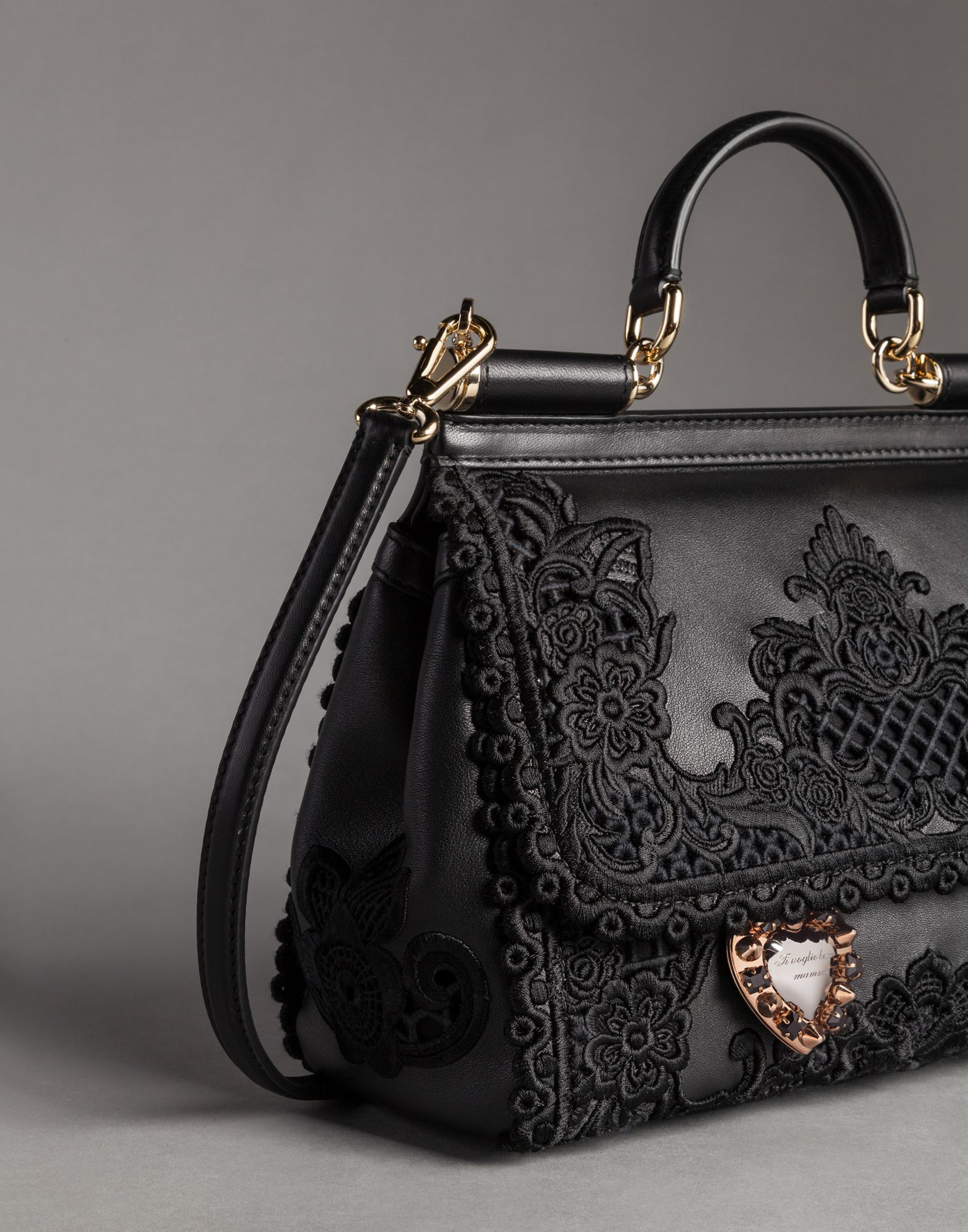 a9a7d9e851 Lyst - Dolce   Gabbana Macramé Lace On Napa Leather Mamma Bag in Black