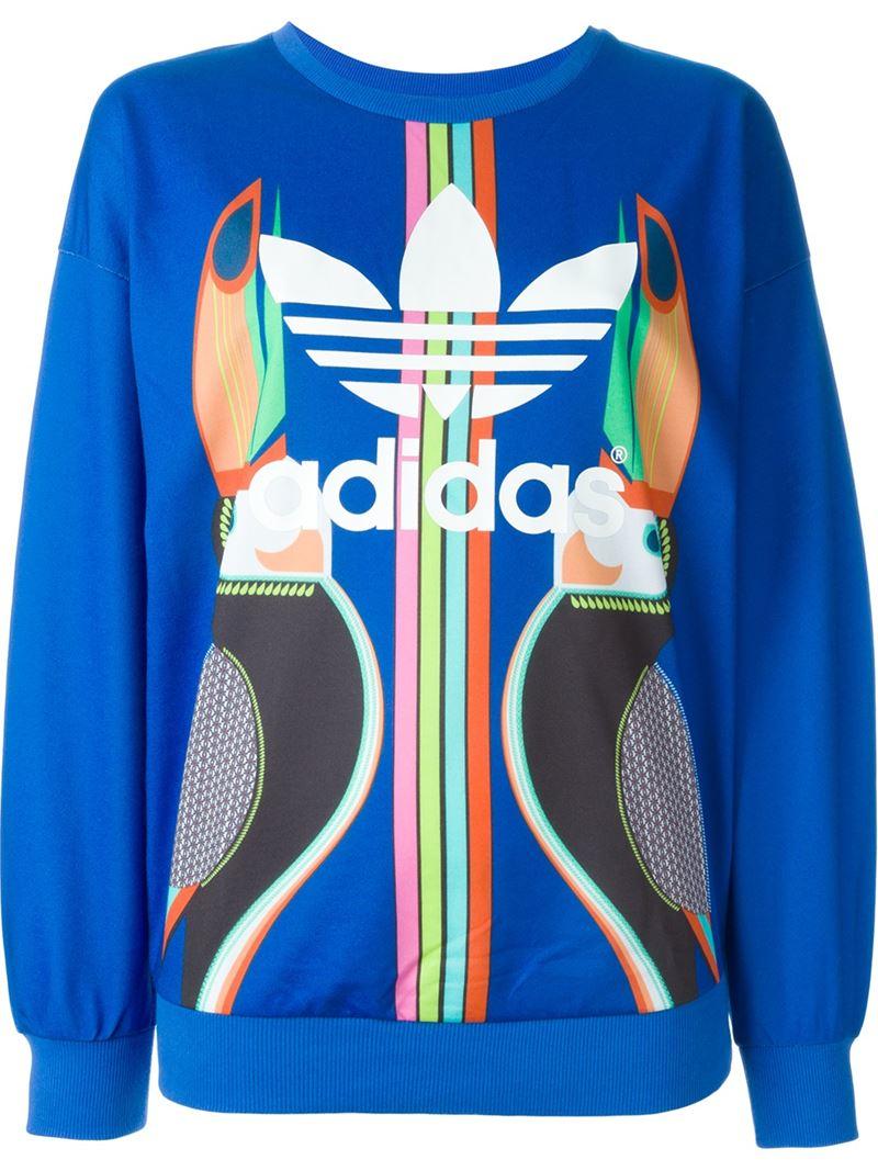c4cb38d8b1be Lyst - adidas Originals Toucan Print Sweatshirt in Blue