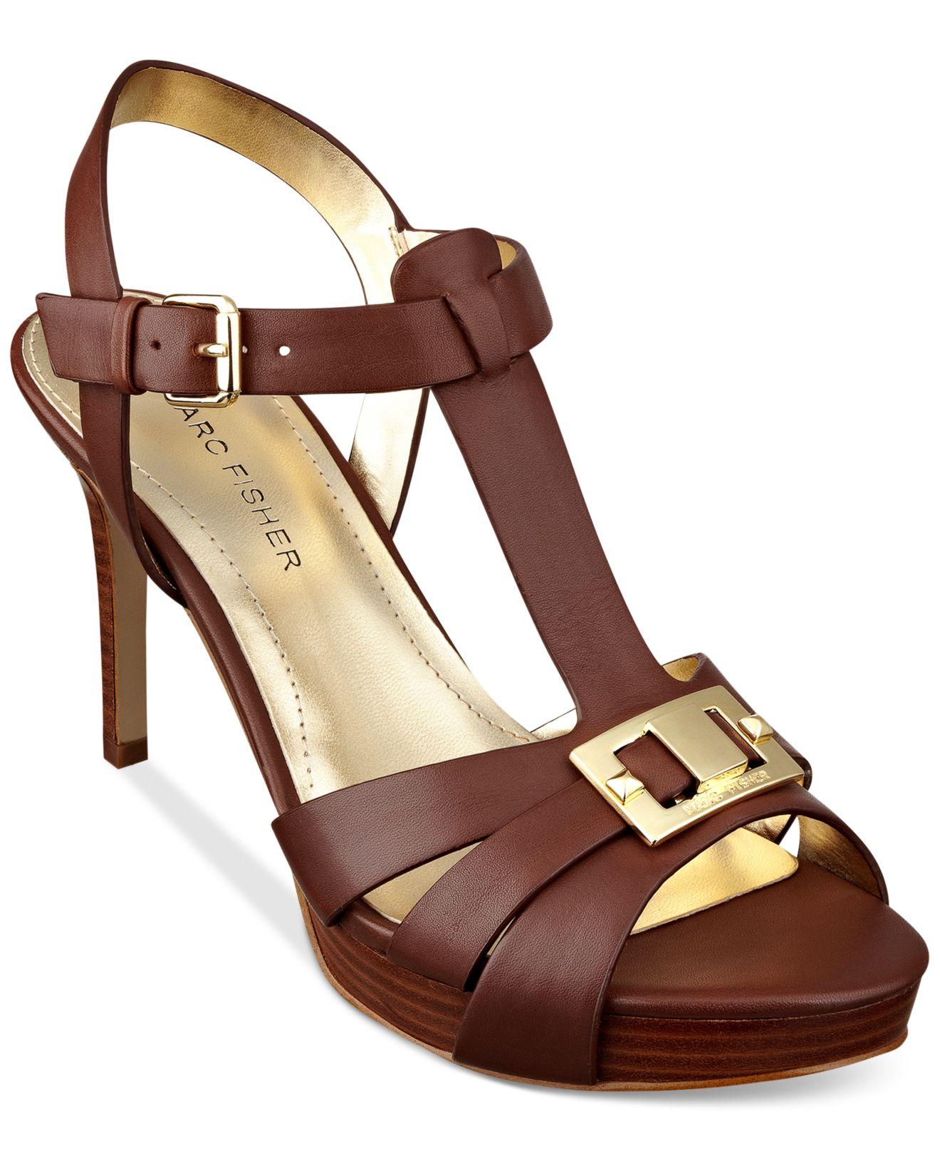 af8f72ee2878 Lyst Marc Fisher Varika Mid Heel Platform Sandals In Brown