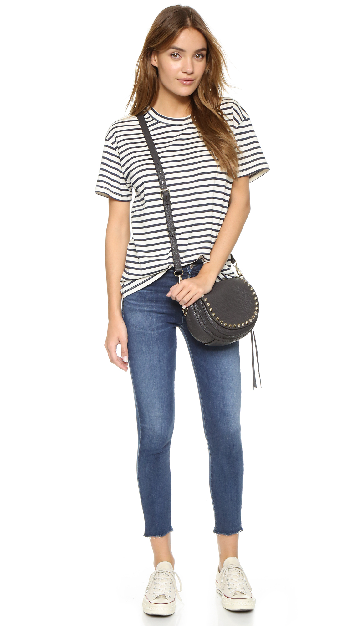 Rebecca minkoff Unlined Saddle Bag in Gray | Lyst