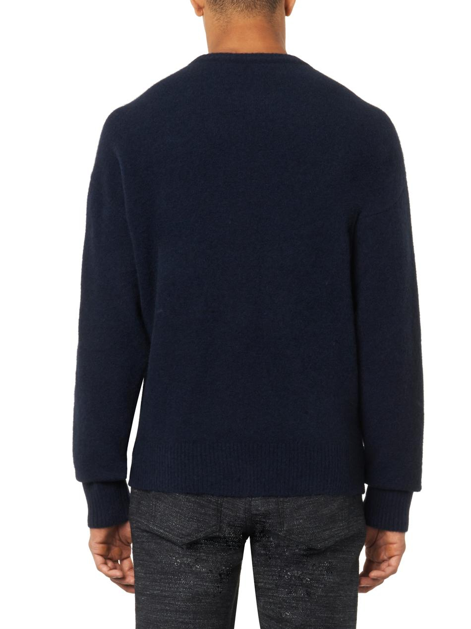 Balenciaga Oversized Navy Wool-blend Sweater in Blue for Men | Lyst