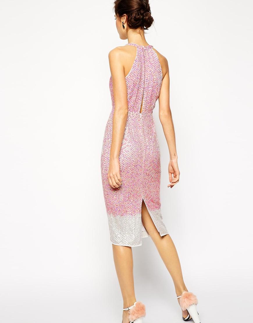 Lyst Asos Red Carpet Premium Embellished Midi Dress With