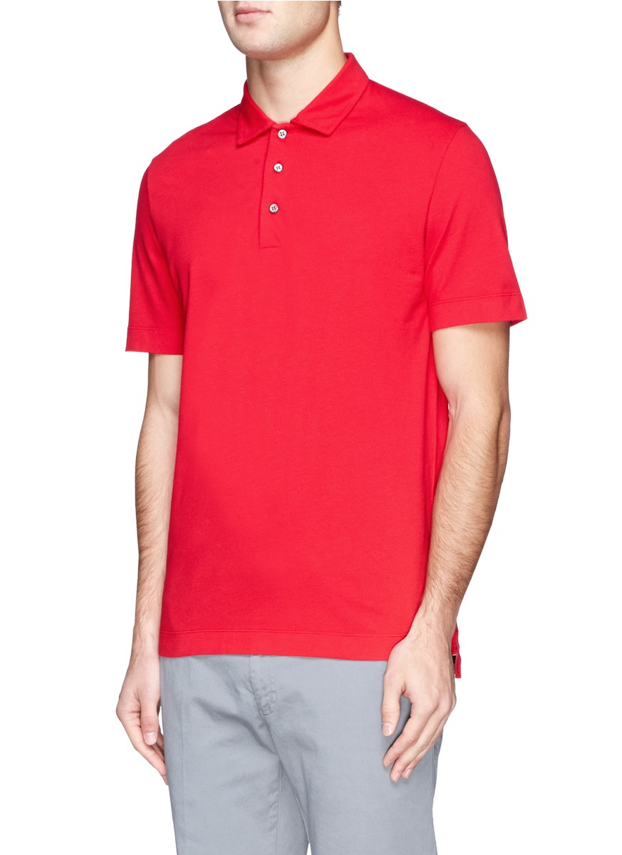canali cotton blend polo shirt in red for men lyst. Black Bedroom Furniture Sets. Home Design Ideas