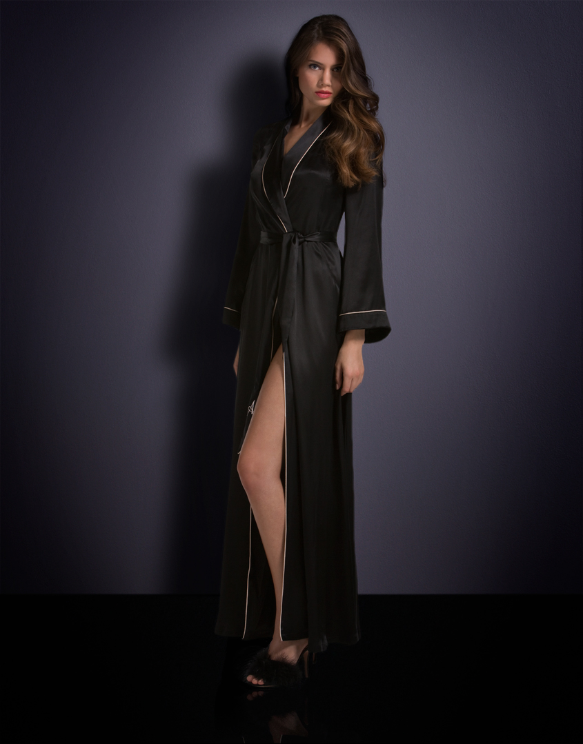 Agent Provocateur Long Classic Dressing Gown Black In