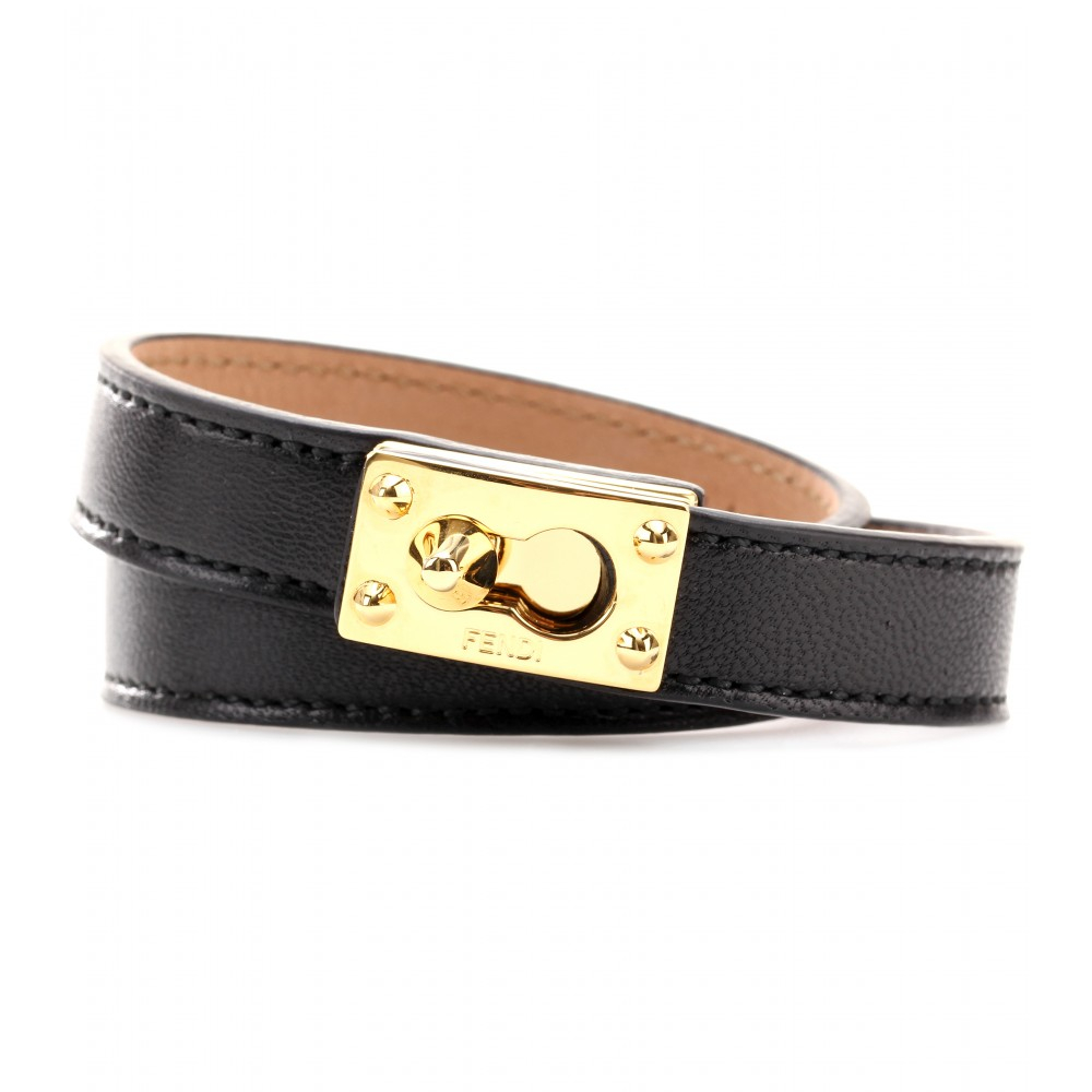 728f315c1702 Lyst - Fendi Leather Wrap Bracelet in Black