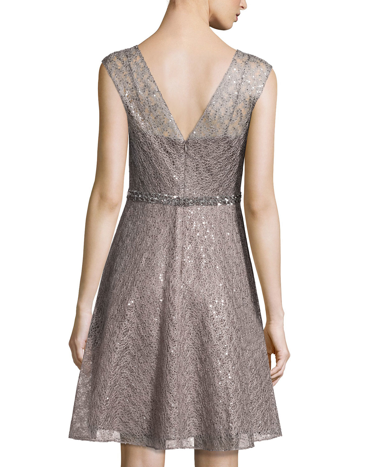 31769791b35 Lyst - Kay Unger Cap-sleeve Sequined Lace Fit-and-flare Dress in Brown