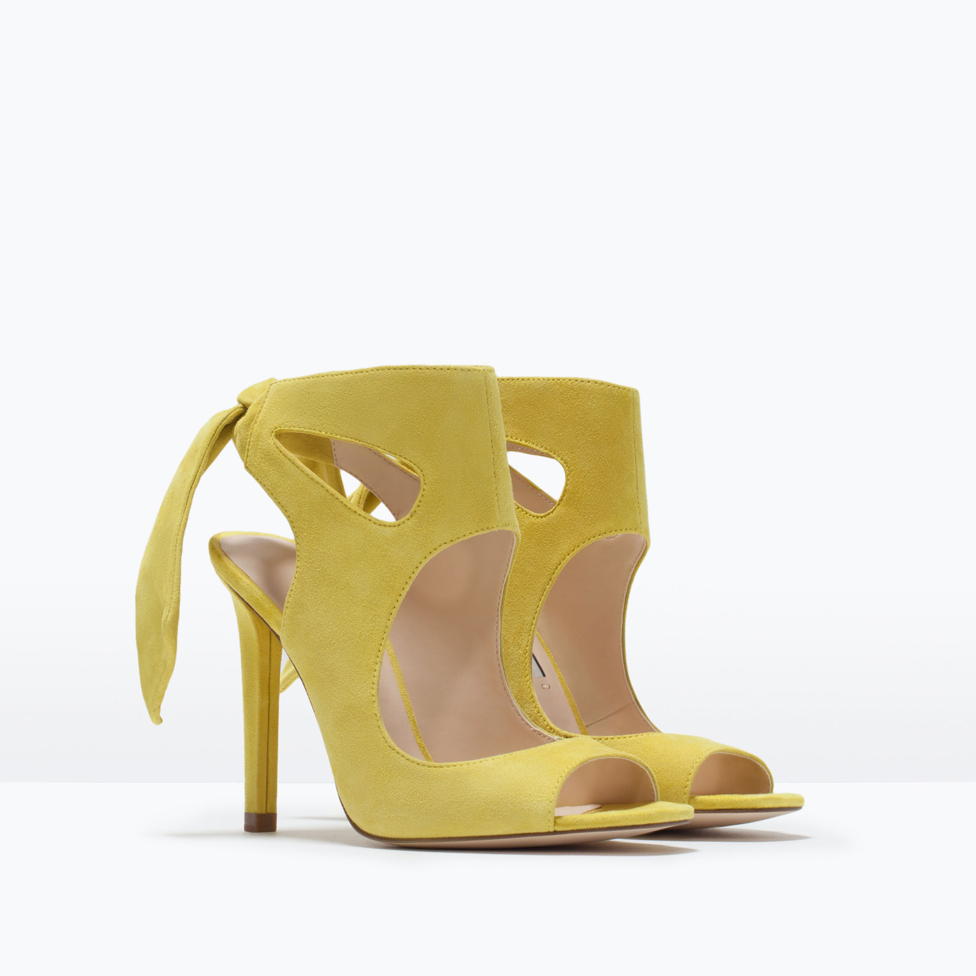 Zara Leather High Heeled Sandals With Bow Leather High