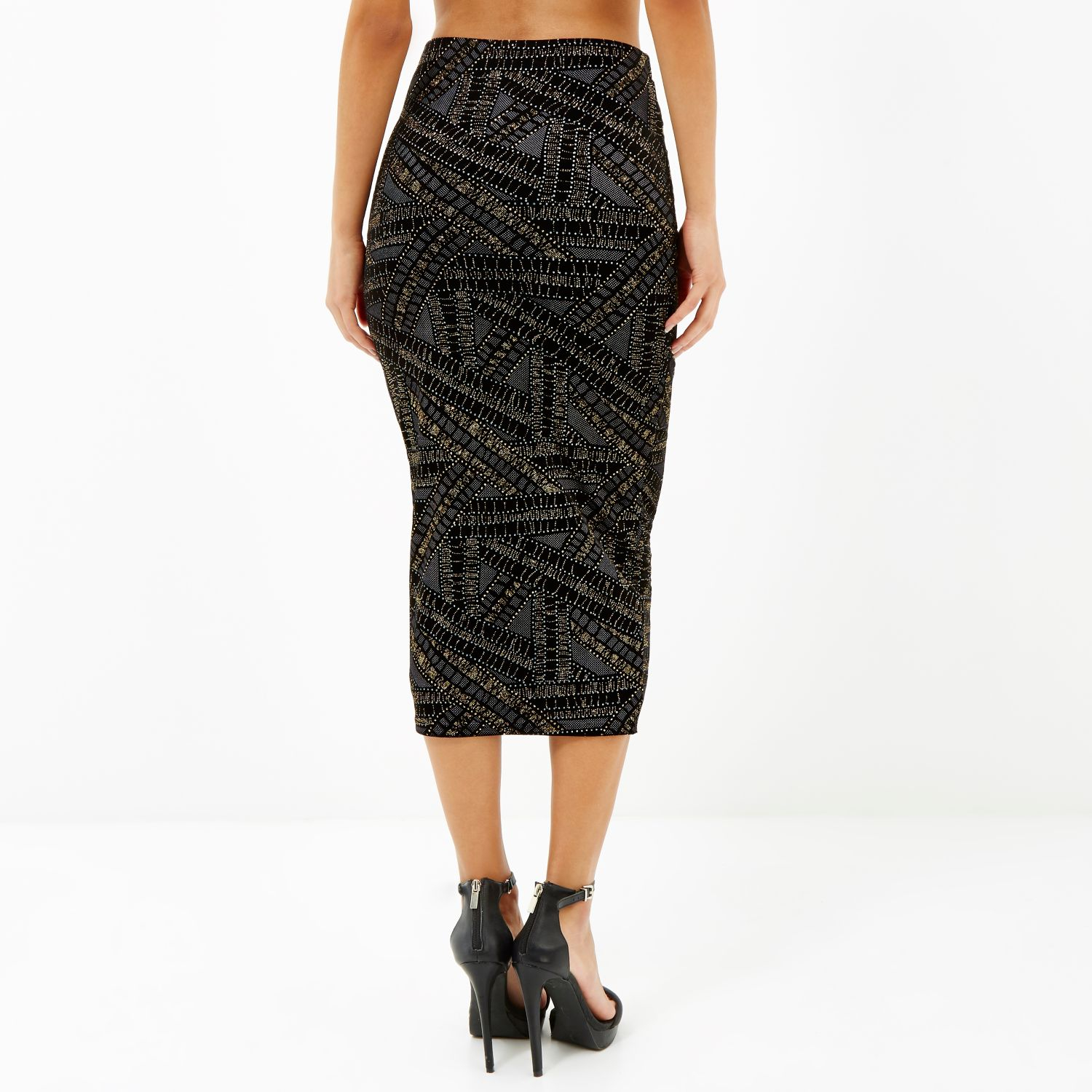 River island Black Gold Sparkle Pull On Pencil Skirt in Black | Lyst