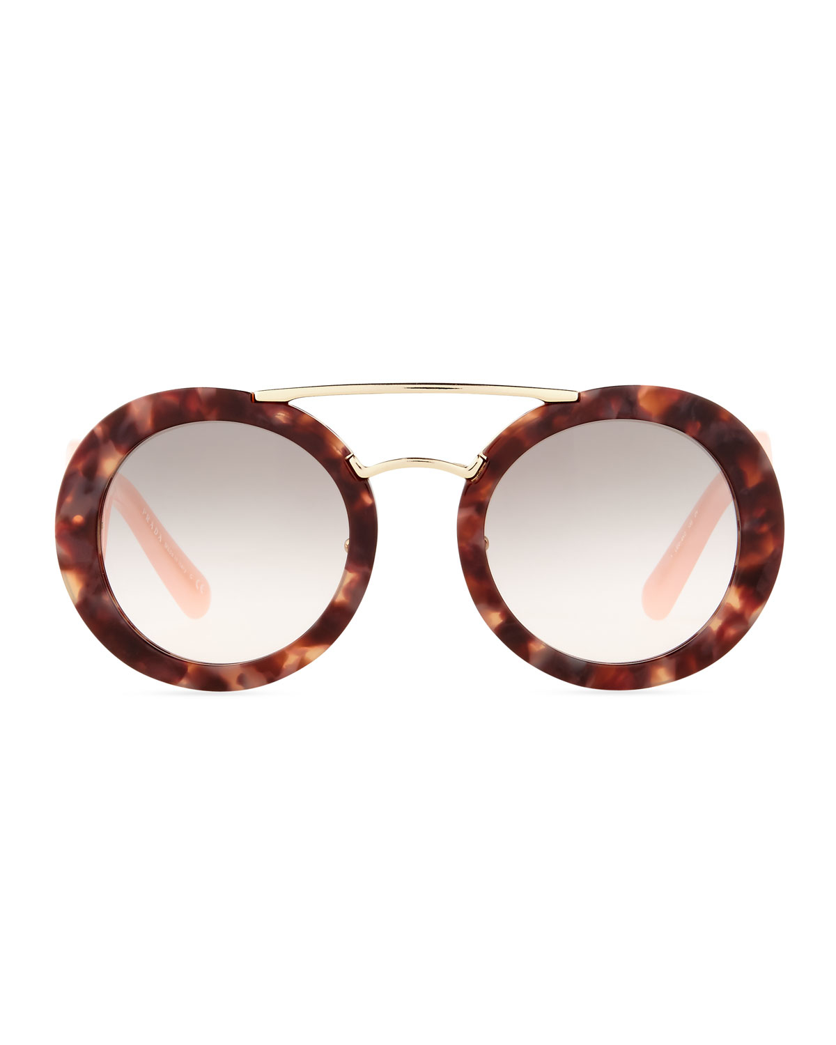 0be880a423 Prada Baroque Round Brow-bar Sunglasses in Pink - Lyst