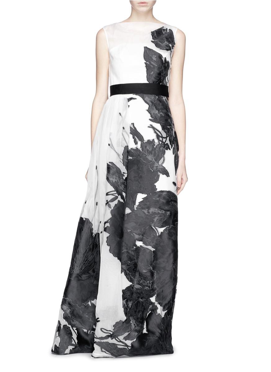 St. john 'Dramatic' Floral Fil Coupé Gown | Lyst