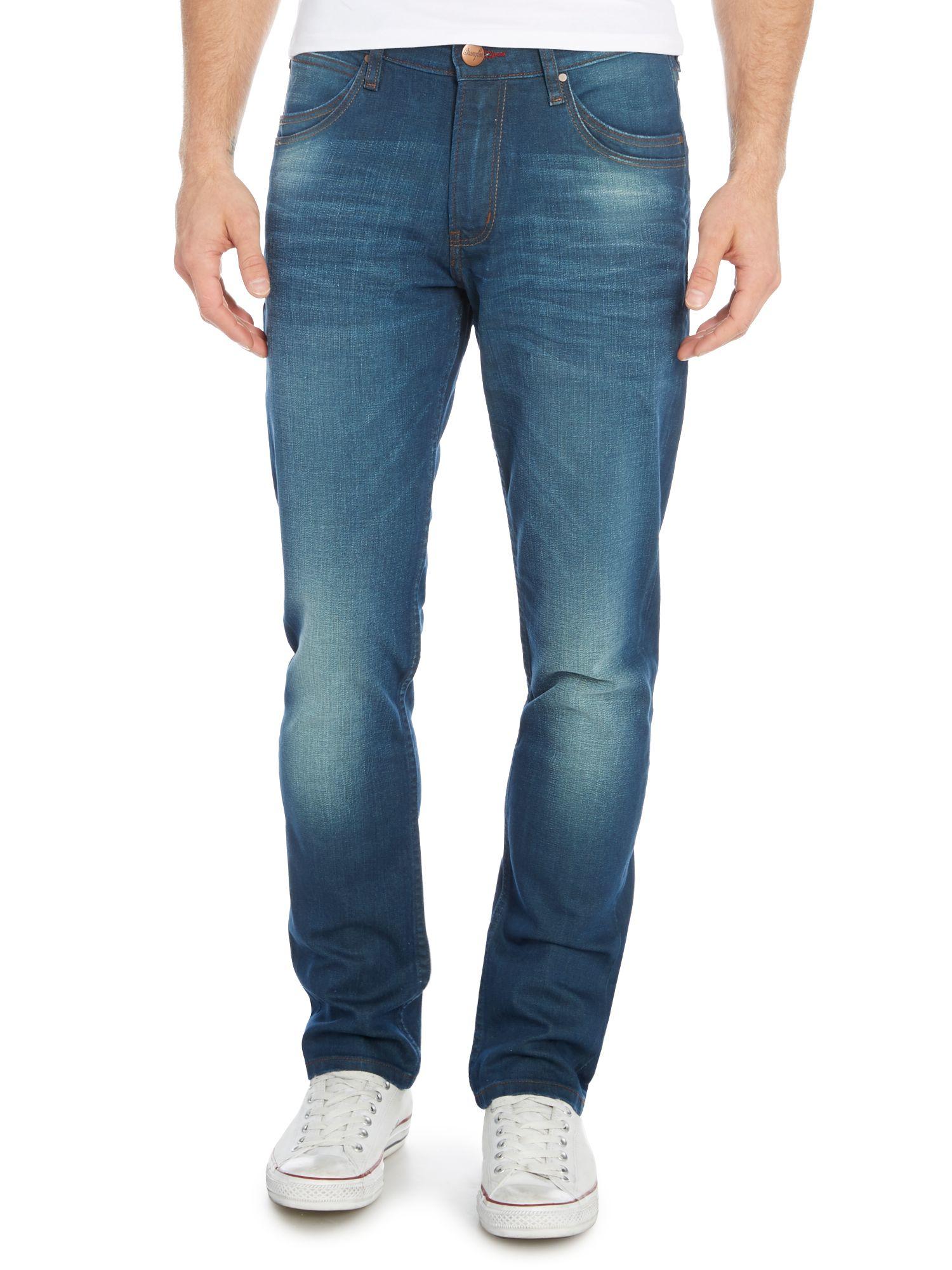 wrangler bostin green tint slim fit jeans in blue for men. Black Bedroom Furniture Sets. Home Design Ideas