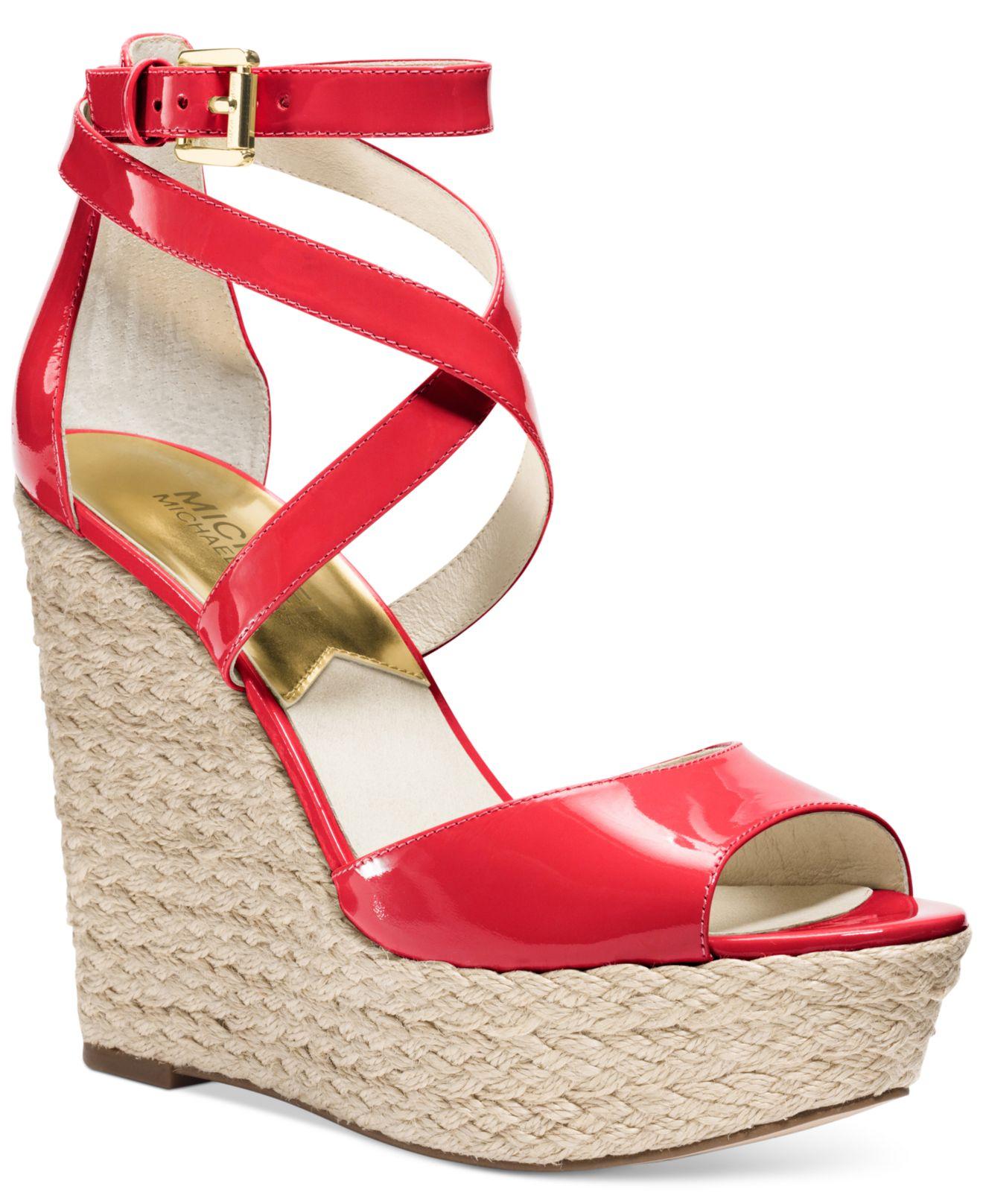 aa75558a9cc4 Lyst - Michael Kors Michael Gabriella Platform Wedge Sandals in Red