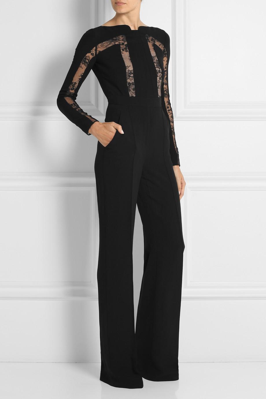 7c901abbb5f7 Lyst - Elie Saab Lace-Paneled Crepe Jumpsuit in Black