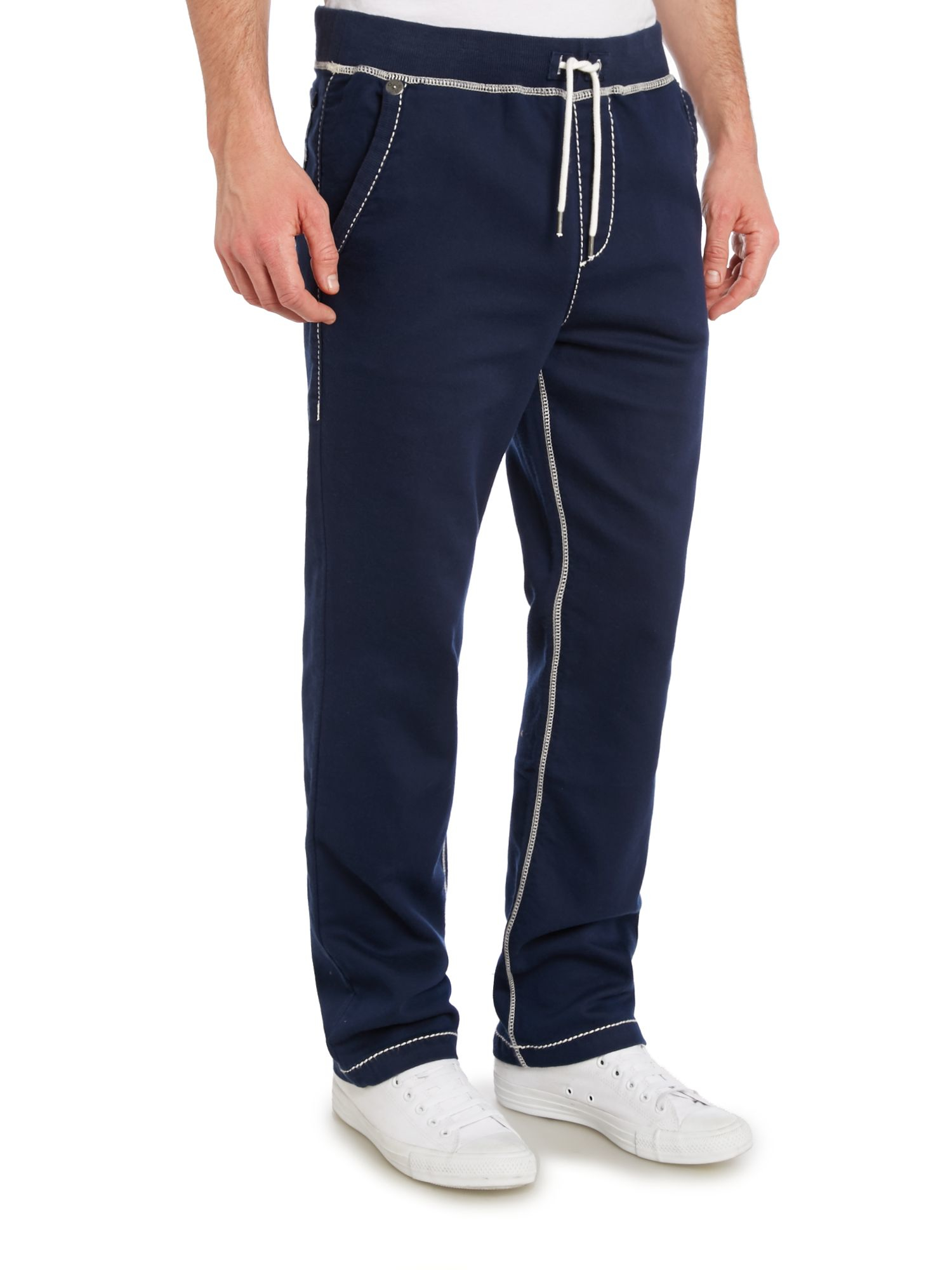true religion straight leg tracksuit bottoms with contrast stit in blue for men lyst. Black Bedroom Furniture Sets. Home Design Ideas