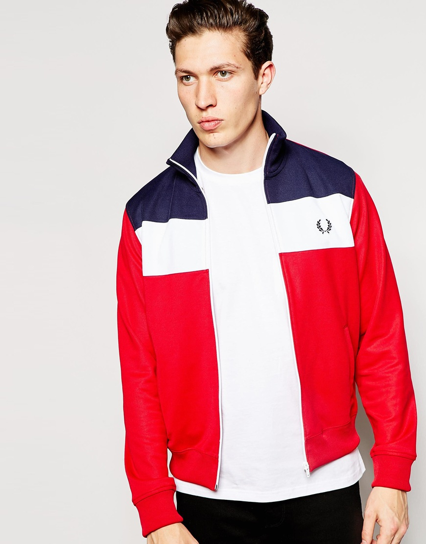 Lyst Fred Perry Track Jacket With Color Block In Blue