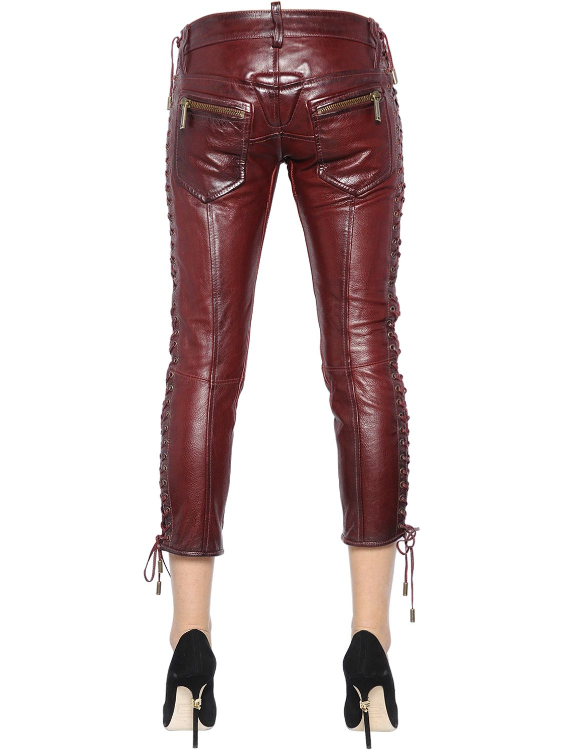 5cf28e0b5fa6 Lyst - DSquared² Lace-up Nappa Leather Pants in Purple