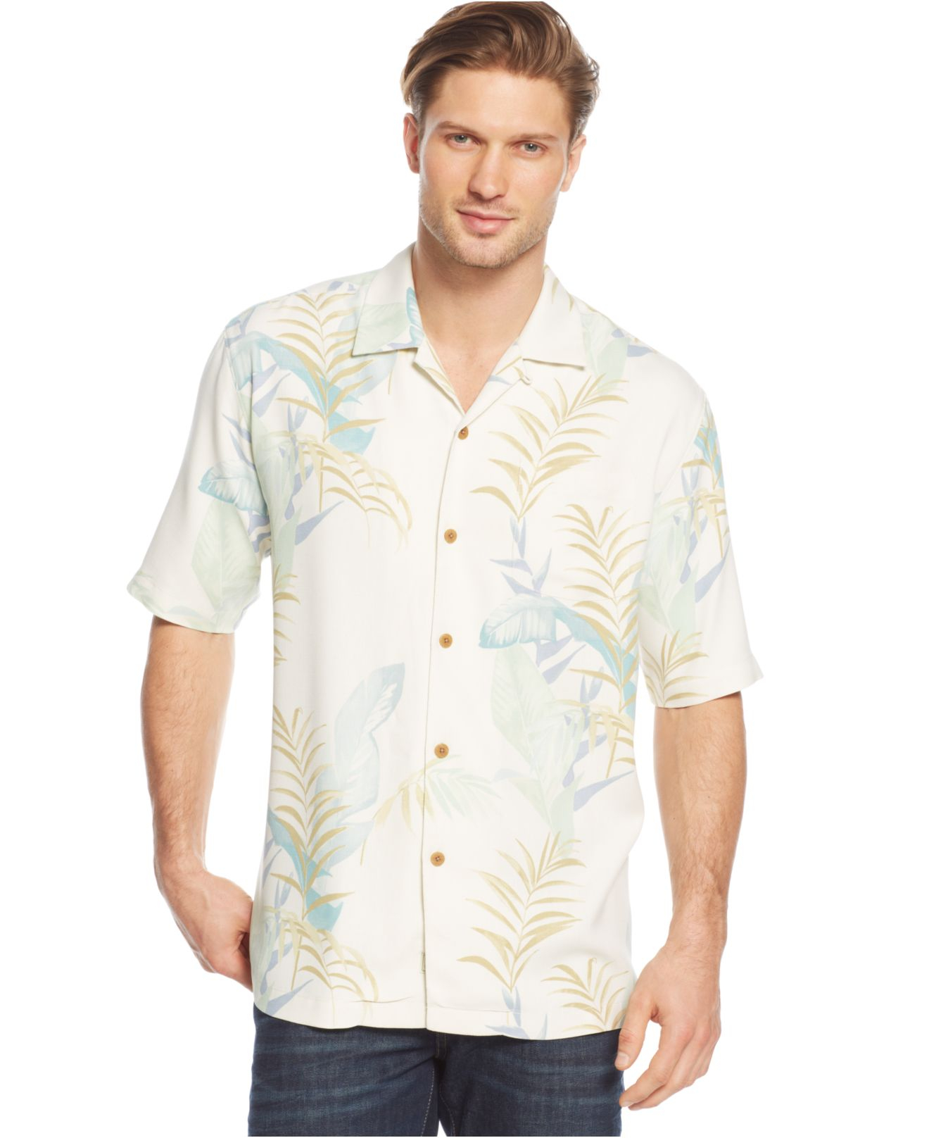 Tommy Bahama The Frond Tier Silk Shirt In White For Men