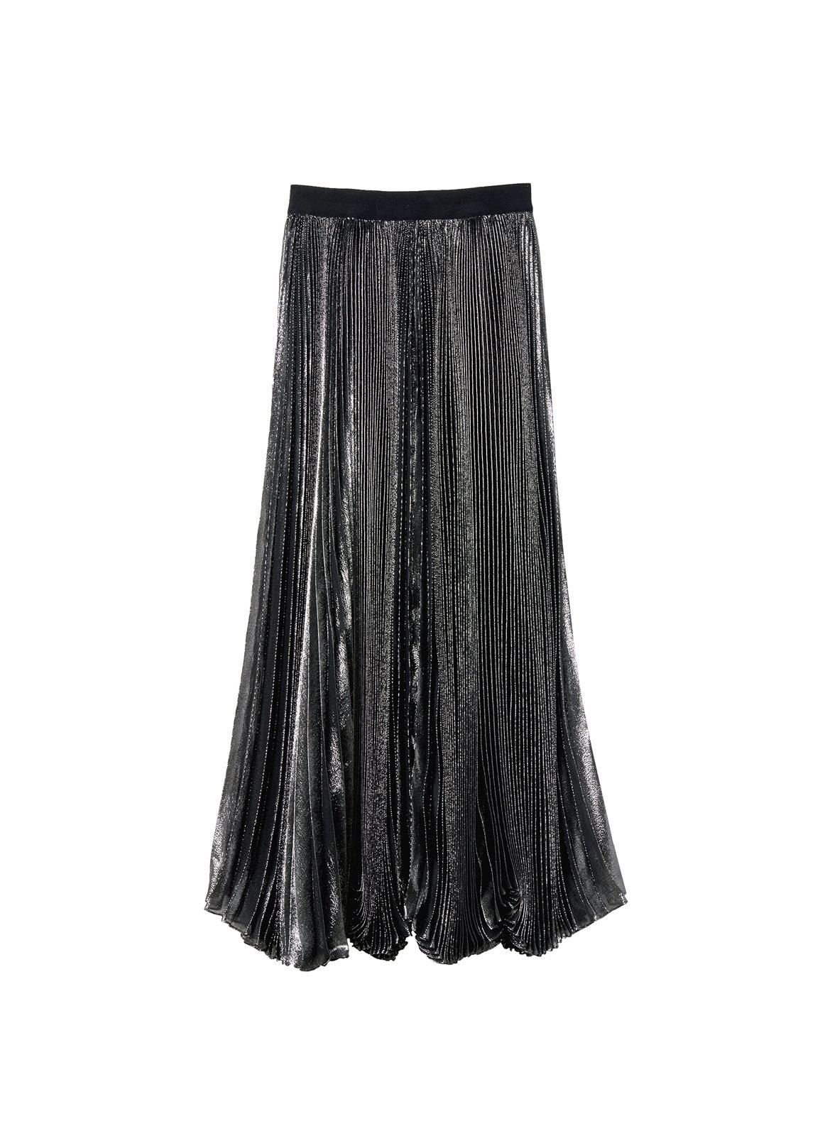 Rebecca taylor Lurex Pleat Maxi Skirt in Metallic | Lyst