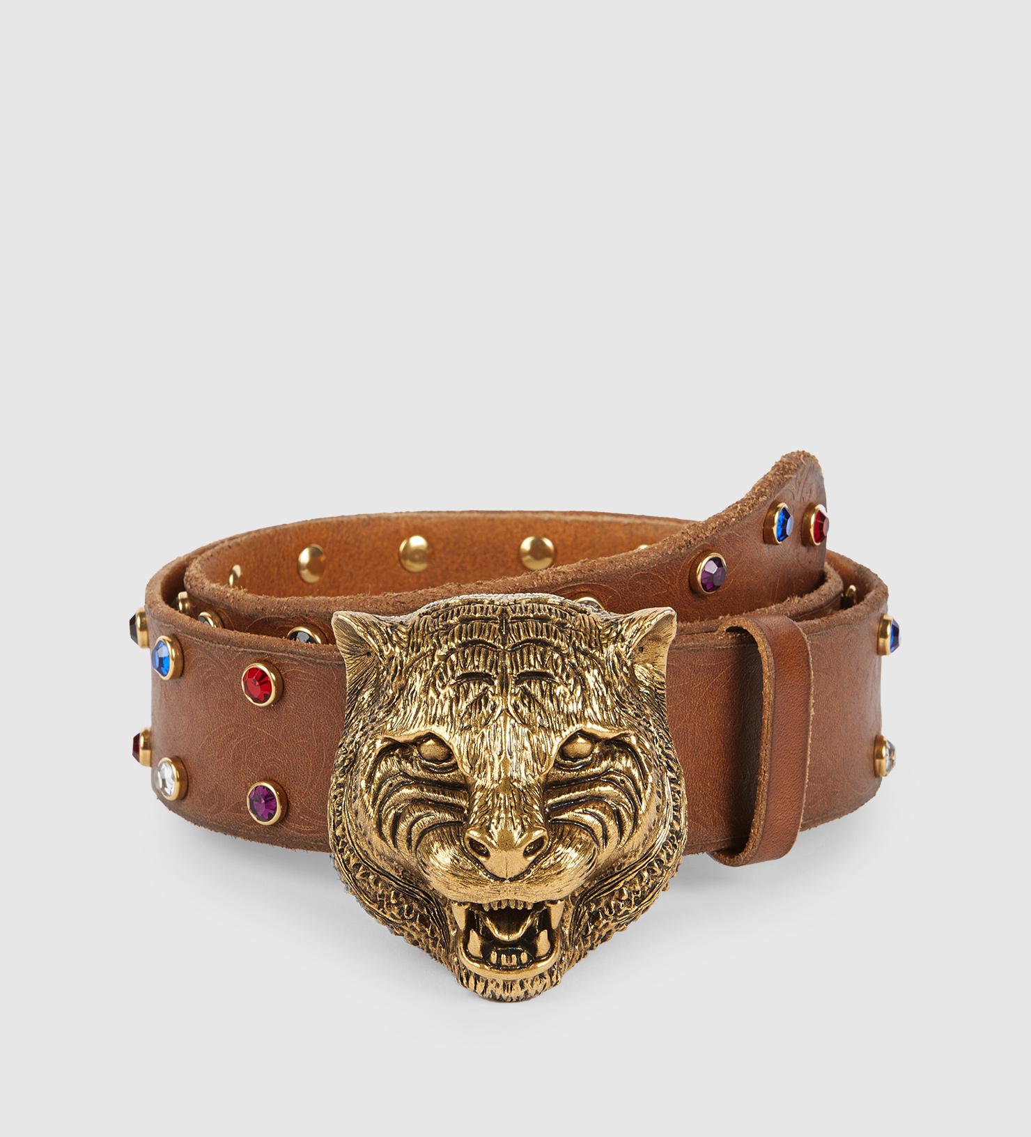 b71d77da826 Lyst - Gucci Studded Belt With Feline Buckle in Metallic