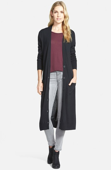 Halogen Cotton Blend Duster Cardigan in Black | Lyst