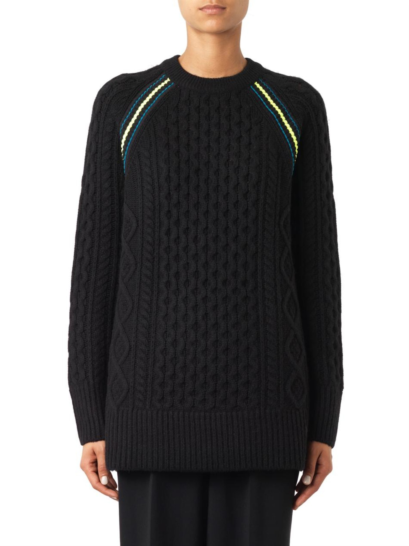 T by alexander wang Contrast-Stripe Aran-Knit Sweater in ...