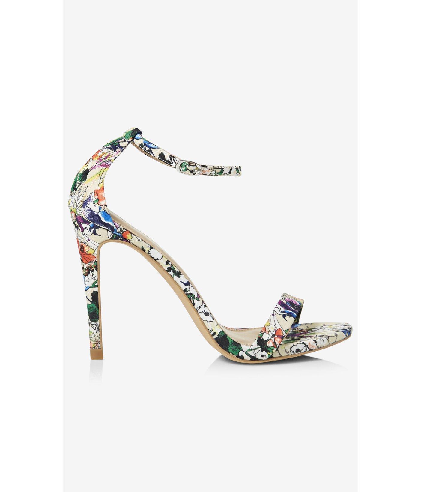 ecf6ec17c9ec Lyst - Express Watercolor Floral Sleek Heeled Sandal in White